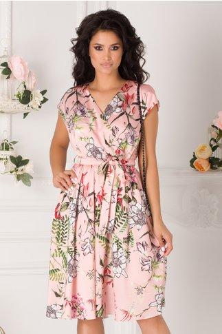 Rochie Amelia roz cu imprimeu floral