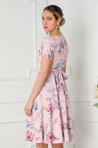 Rochie Amelia roz pal cu imprimeu floral