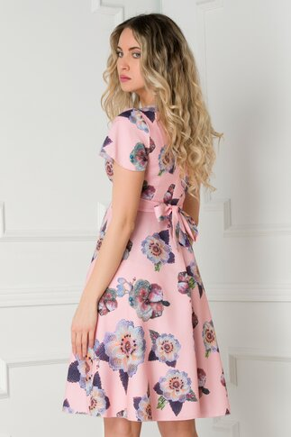 Rochie Amelia roz prafuit cu imprimeu floral