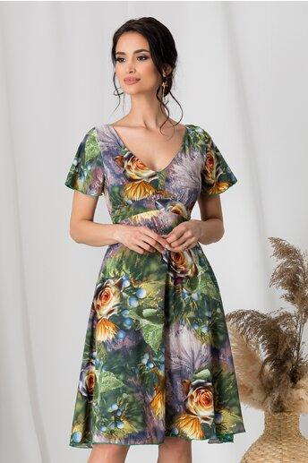 Rochie Amelia verde de zi cu flori galbene