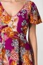 Rochie Amelia violet de zi cu flori orange