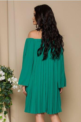 Rochie Amelie verde plisata cu tull bej la bust