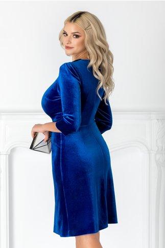 Rochie Amina albastra din catifea cu guler din margele