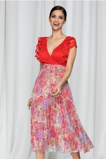 Rochie Amina rosie cu pliuri pe fusta si decolteu petrecut