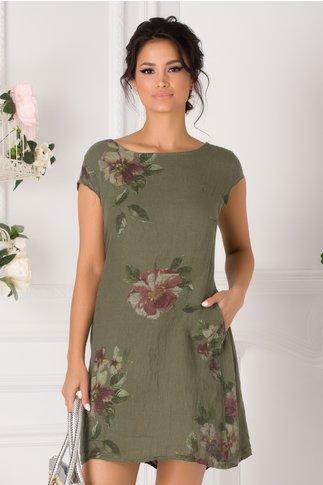 Rochie Amira kaki cu imprimeu floral