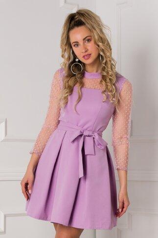 Rochie Amira lila cu insertii din tull si buline catifelate