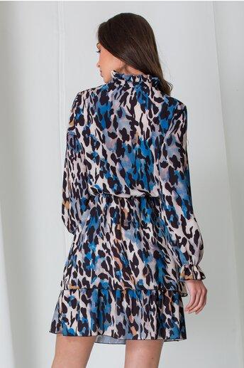 Rochie Amna bleu cu animal print