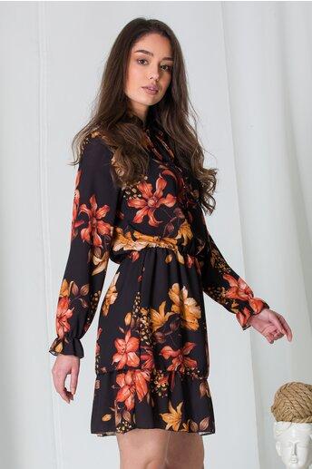 Rochie Amna neagra cu imprimeuri florale maro