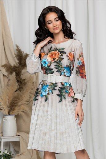 Rochie Ana bej cu fusta plisata si imprimeuri florale