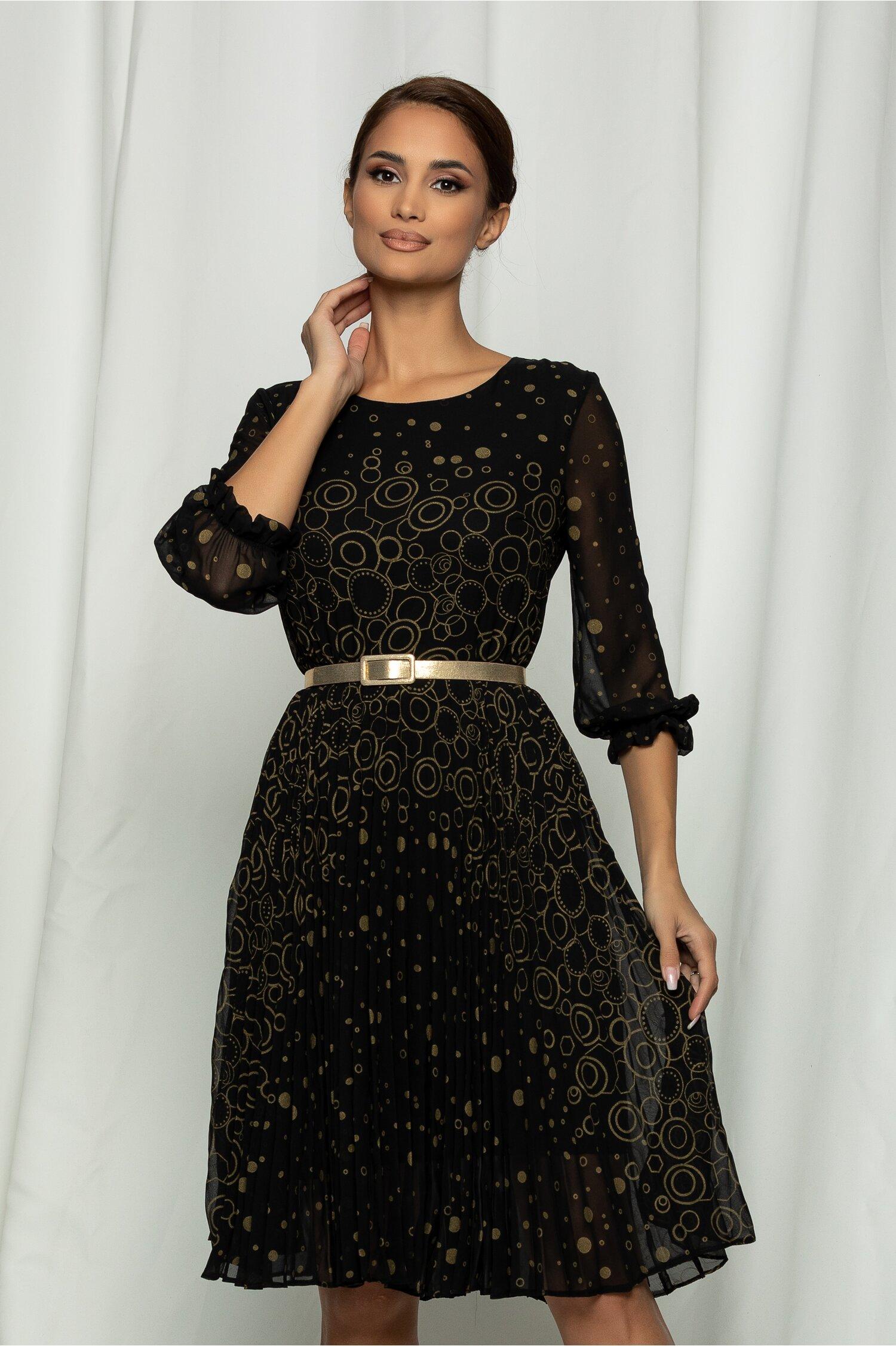 Rochie Ana neagra plisata si design cu cerculete