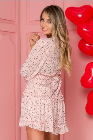 Rochie Ana roz cu imprimeuri si volanase