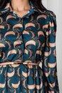 Rochie Ana turcoaz cu imprimeuri roz