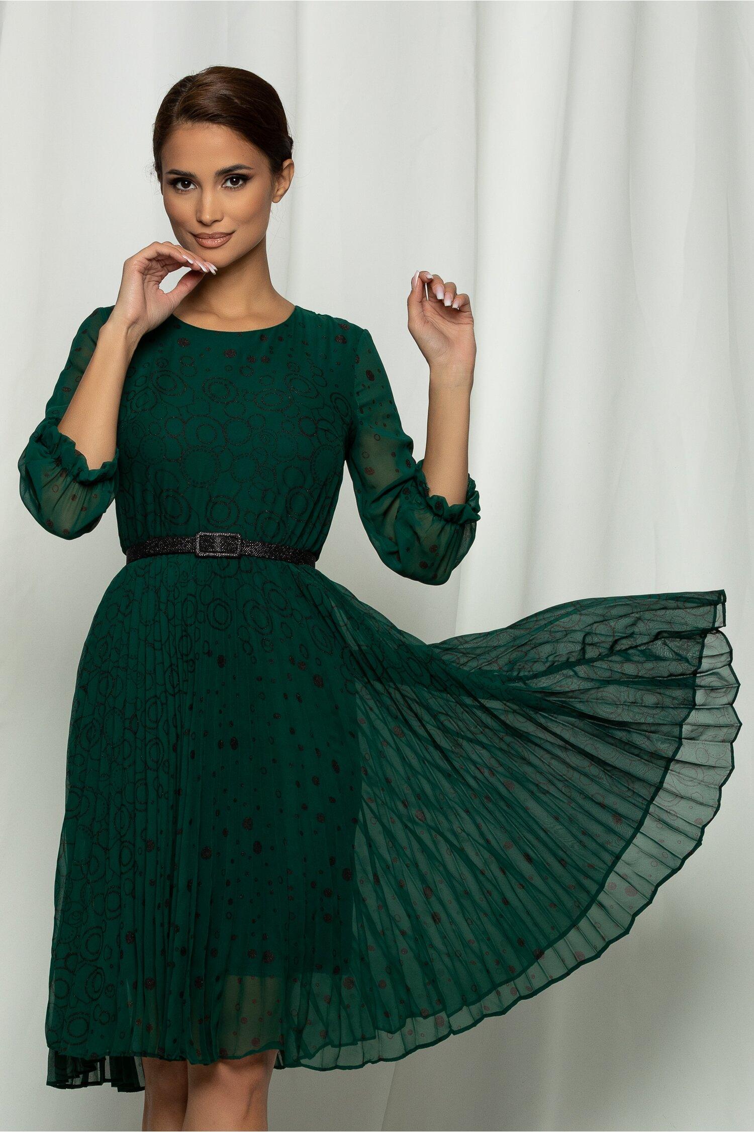 Rochie Ana verde plisata si design cu cerculete