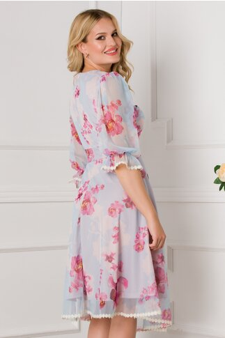 Rochie Anabela bleu cu imprimeuri florale roz