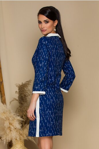 Rochie Anais albastra cu imprimeuri si guler alb