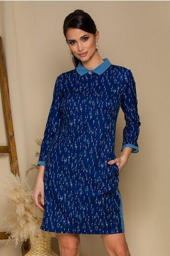 Rochie Anais bleumarin cu imprimeuri si guler bleu