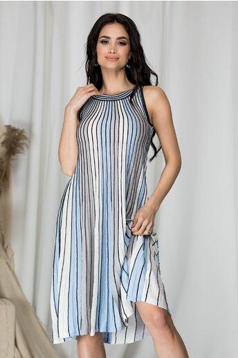 Rochie Anais cu dungi bleu in linie A