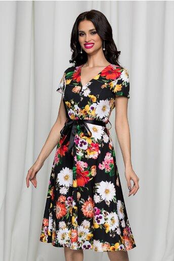 Rochie Anais neagra clos cu imprimeu floral si decolteu in V