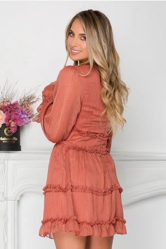 Rochie Anais roz coniac cu fir lurex si volanase