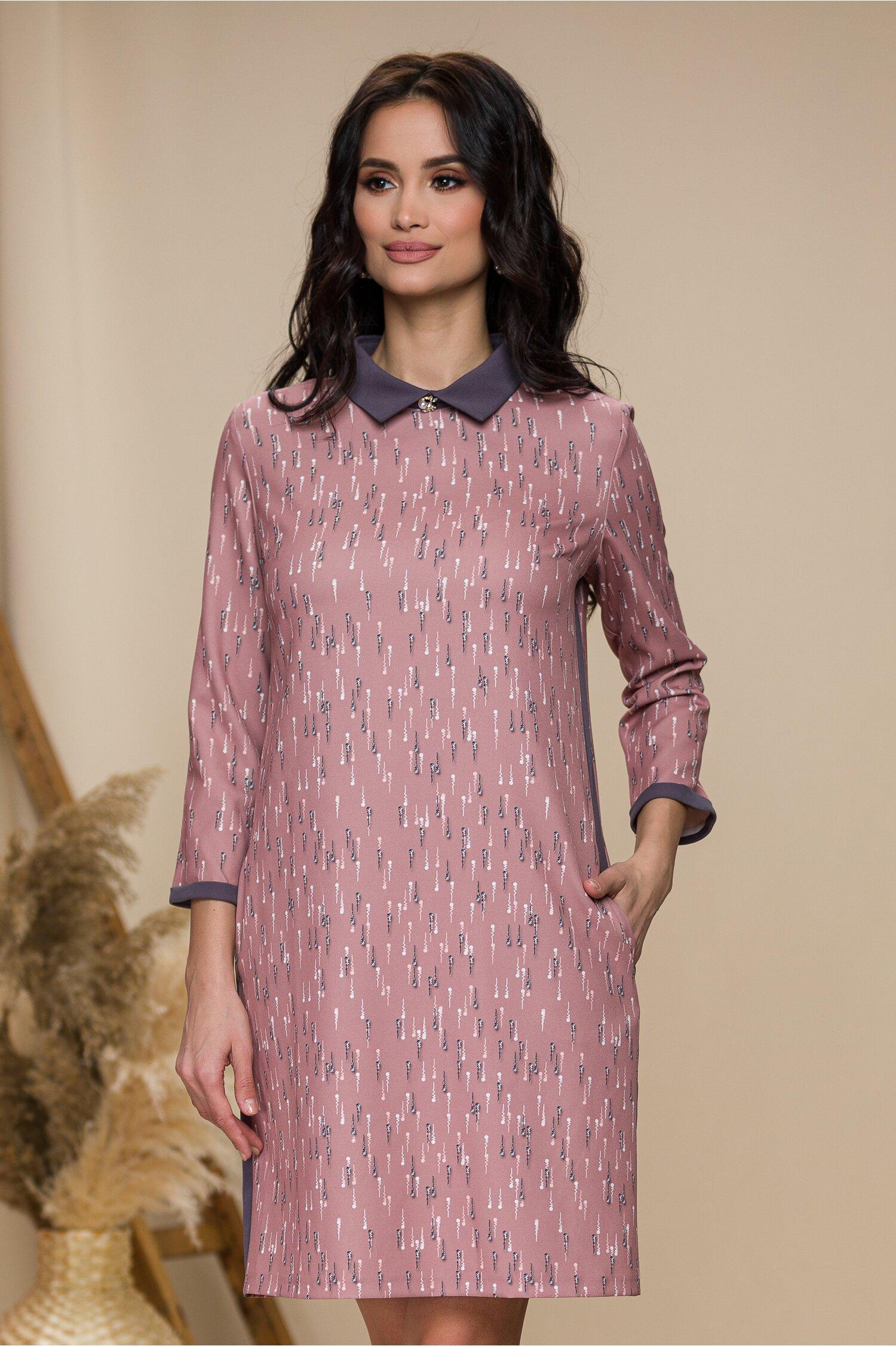 Rochie Anais roz cu imprimeuri si guler gri