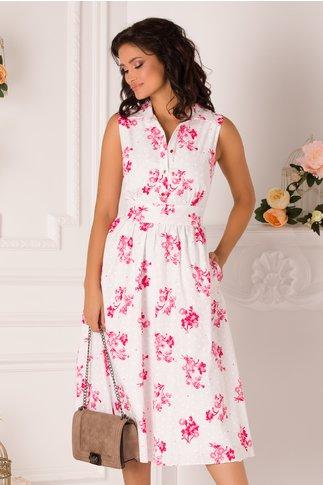 Rochie Anastasia alba cu imprimeu roz
