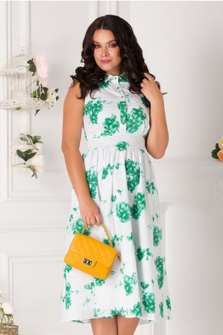 Rochie Anastasia alba cu imprimeu verde