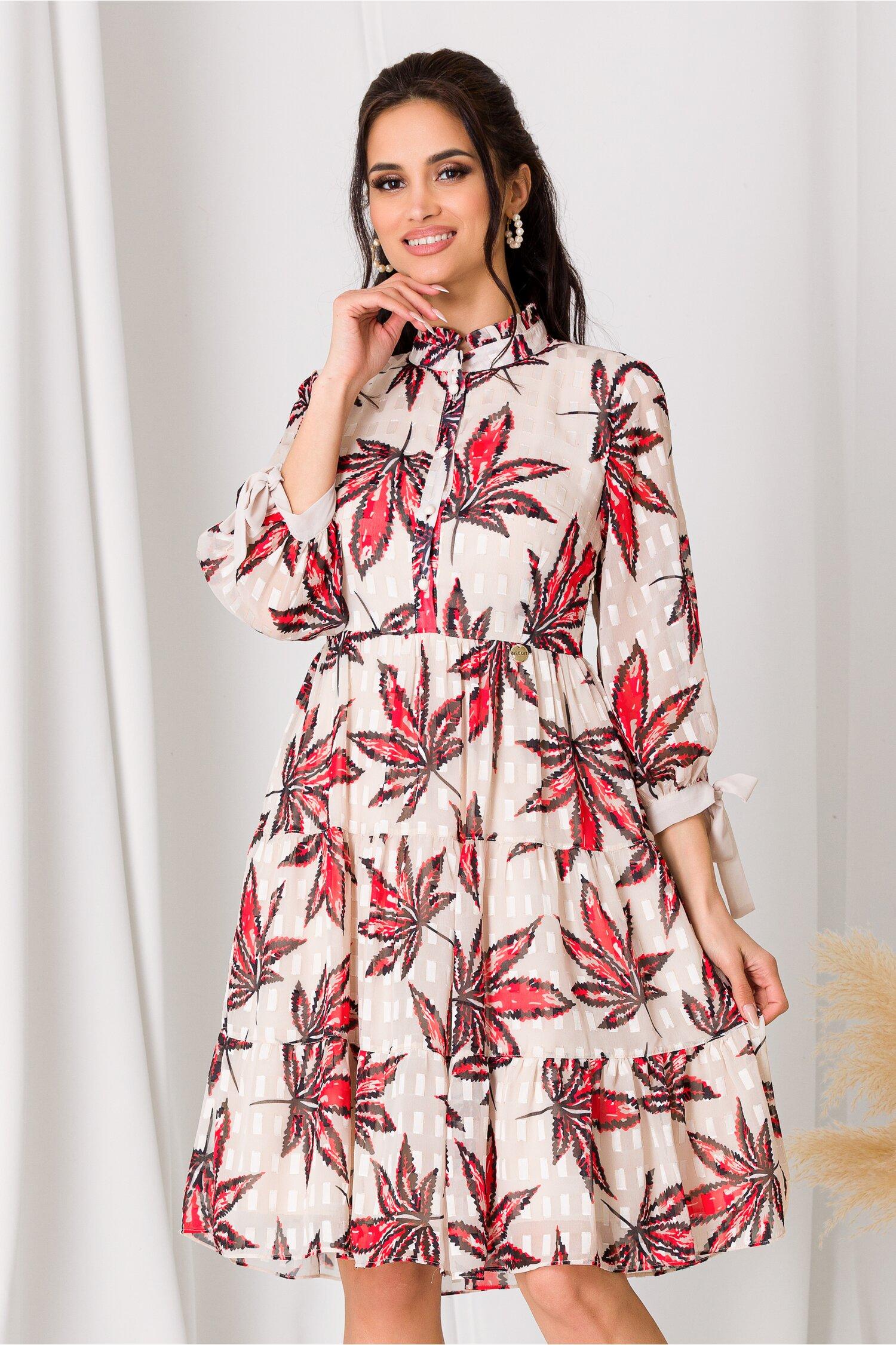 Rochie Anastasia bej cu imprimeuri rosii