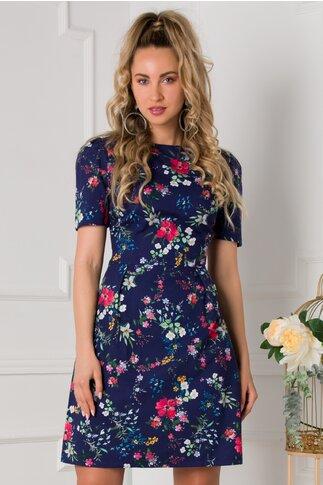 Rochie Anastasia bleumarin cu imprimeu floral