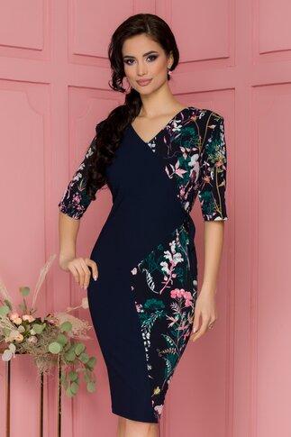 Rochie Anastasia bleumarin cu imprimeuri florale si design petrecut
