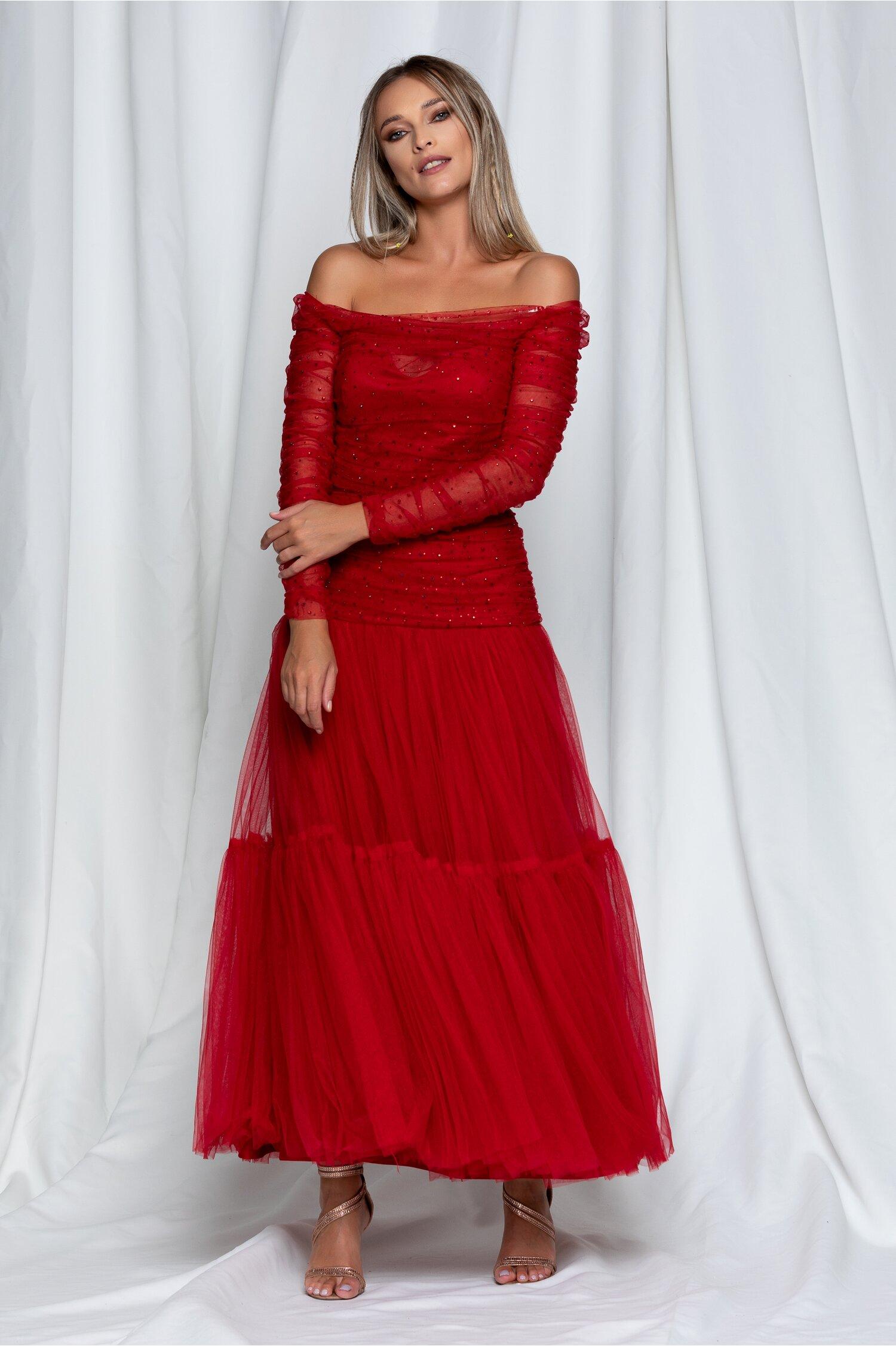 Rochie Anastasia lunga rosie din tulle cu strasuri la bust