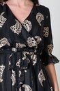 Rochie Anastasia neagra cu dungi satinate si imprimeuri bej