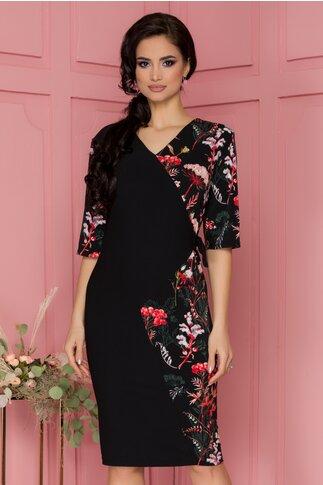 Rochie Anastasia neagra cu imprimeuri florale si design petrecut