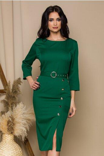Rochie Anastasia verde cu nasturi pe fusta si curea in talie