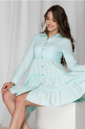 Rochie Anastasia verde mint lejera cu inchidere cu nasturi