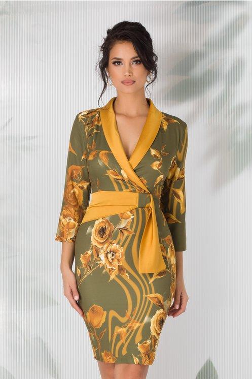 Rochie Anaya kaki cu imprimeu floral galben mustar