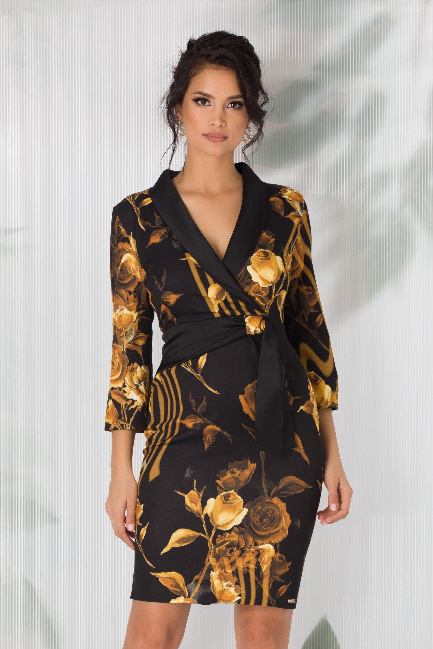 Rochie Anaya neagra cu imprimeu floral galben mustar
