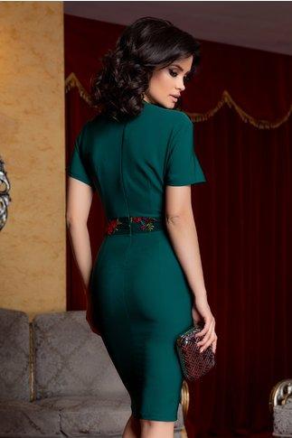 Rochie Anca verde cu cordon fals in talie si broderie