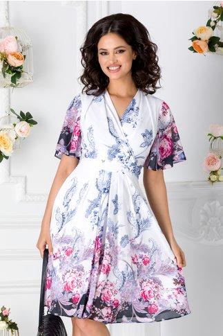 Rochie Anda alba din voal cu imprimeu floral