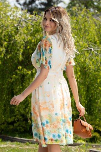 Rochie Anda galben pal din voal cu imprimeu floral si fluturi