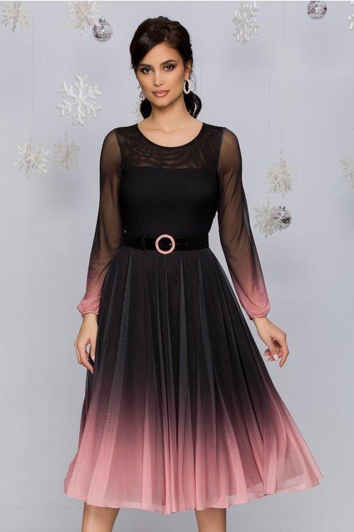 Rochie Andra midi negru cu roz in degrade stil ombre