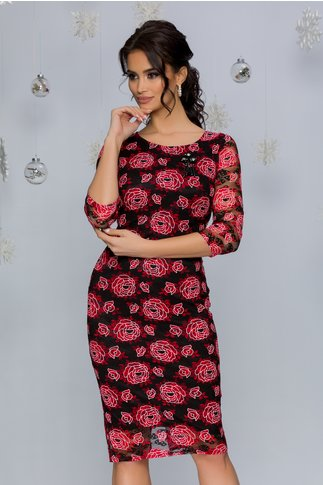 Rochie Andra neagra cu imprimeu floral rosu