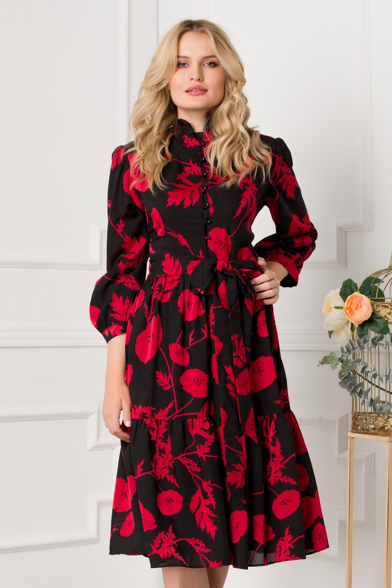 Rochie Andra neagra cu imprimeu floral rosu si volan la baza