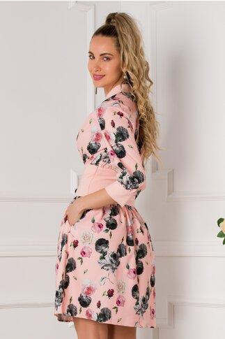 Rochie Andra roz cu tradafiri