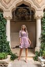 Rochie Andrada lila cu buline si insertii din fir lurex