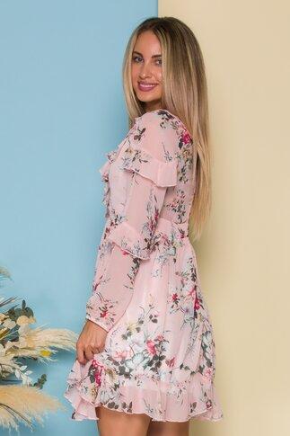 Rochie Andrada roz cu imprimeuri florale si volanase la decolteu si maneci