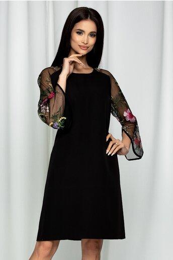 Rochie Andrea neagra cu maneci semitransparente accesorizate cu broderie traditionala
