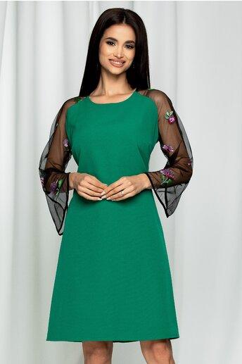 Rochie Andrea verde maneci semitransparente accesorizate cu broderie traditionala