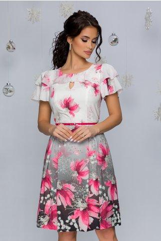 Rochie Anemarie alba cu imprimeu floral roz