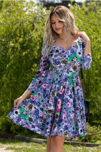 Rochie Anemona bleu cu imprimeuri florale colorate
