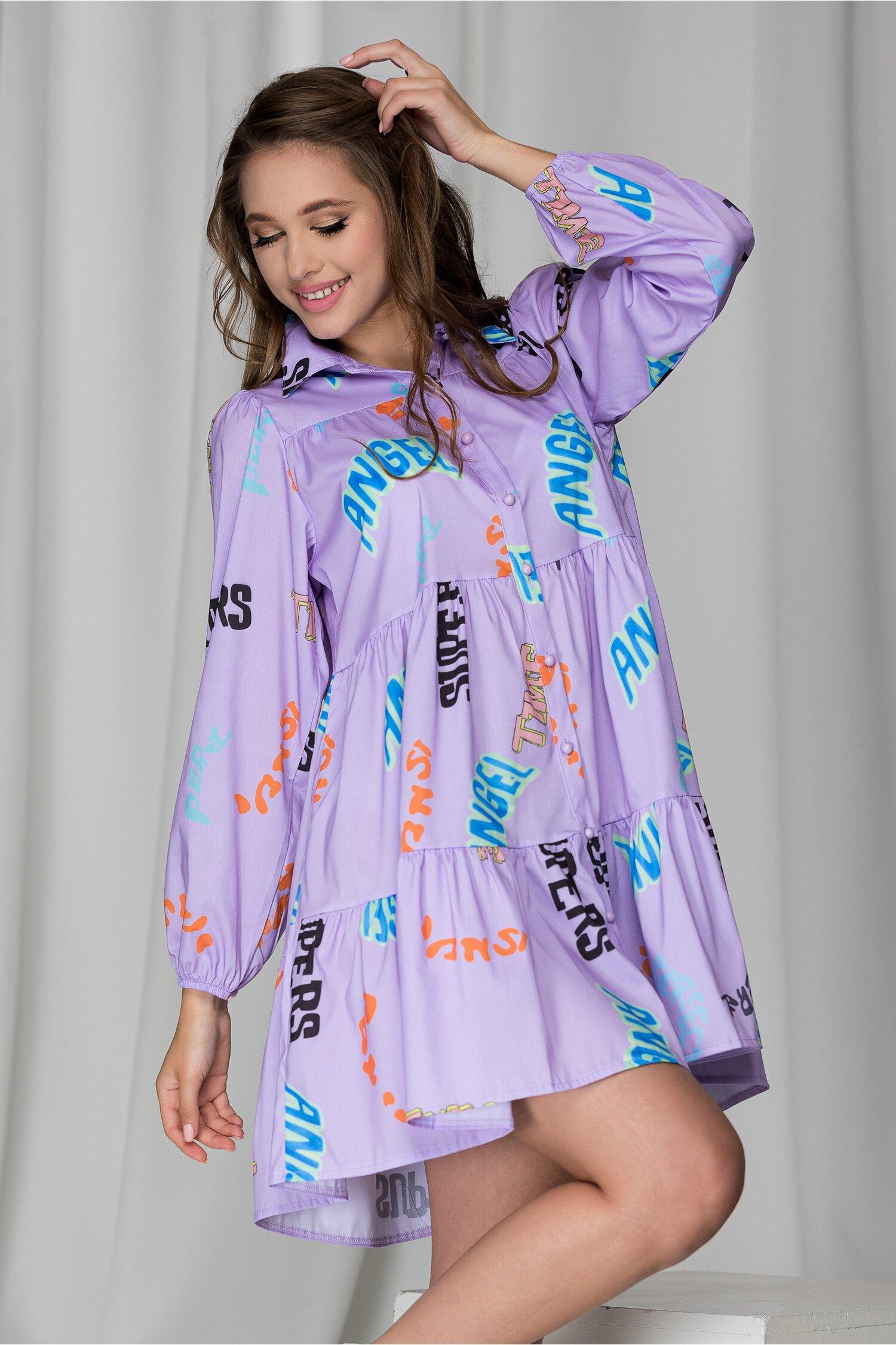 Rochie Angel Lila Cu Imprimeuri Colorate